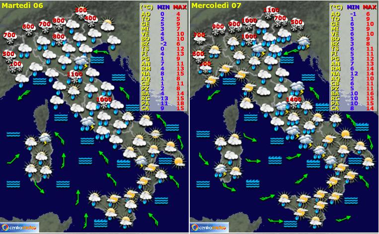 Previsioni meteo 6-7 Febbraio