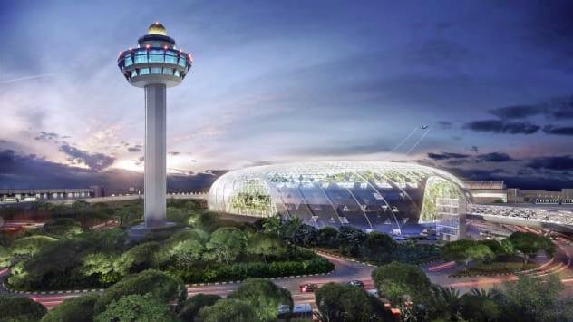 L'aeroporto denominato Giardino Magico con cascata all'interno struttura a ciambella e torre di controllo - meteoweek.com