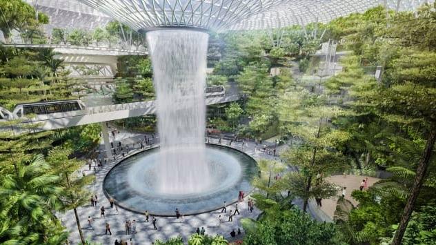 L'aeroporto singapore con cascata all'interno - meteoweek.com