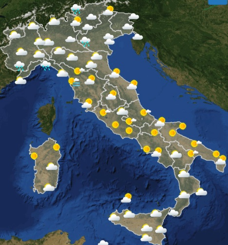 Meteo Italia Previsioni del tempo di mercoledì 22 maggio 2019 ore 00-06 - meteoweek.com