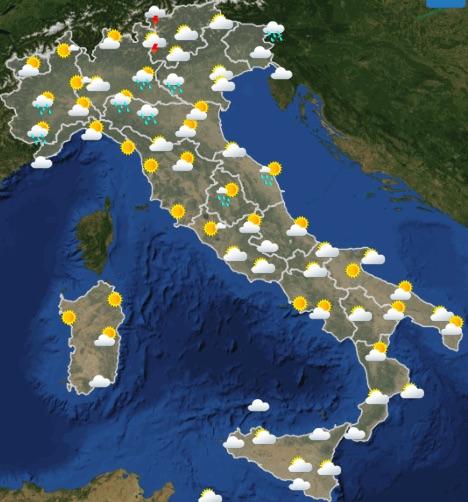 Meteo Italia Previsioni del tempo di mercoledì 22 maggio 2019 ore 12-18 - meteoweek.com