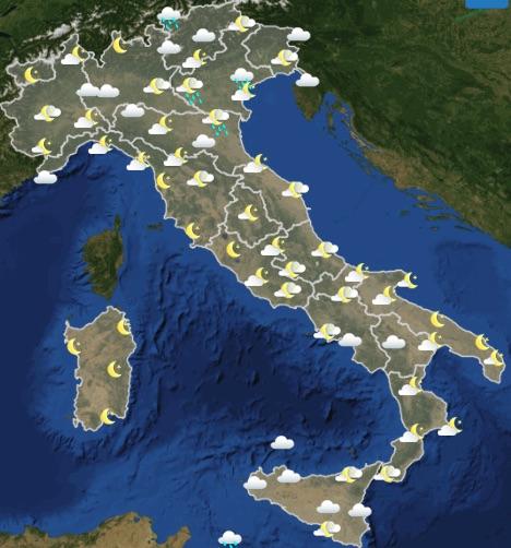 Meteo Italia Previsioni del tempo di mercoledì 22 maggio 2019 ore 18-24 - meteoweek.com