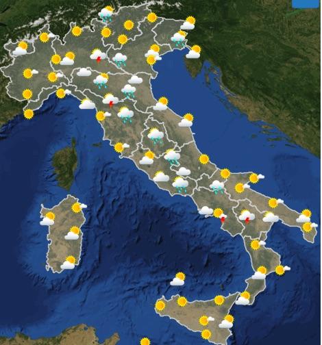 Meteo Italia Previsioni del tempo giovedì 23 maggio 2019 ore 06-12 - meteoweek.com