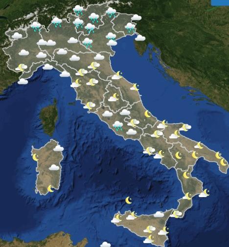 Meteo Italia Previsioni del tempo oggi lunedì 20 maggio 2019 ore 12-18 - meteoweek.com