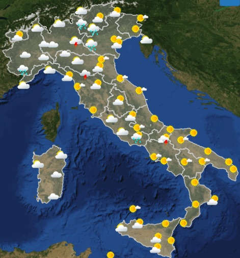 Meteo Italia Venerdì 24 maggio 2019 ora 06-12 - meteoweek.com