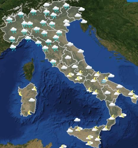 Meteo Italia domani venerdì 17 maggio 2019 ore 18-24 - meteoweek.com