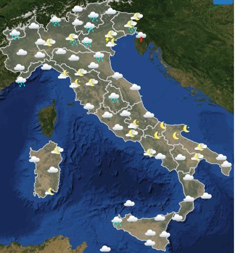 Meteo Italia domenica 19 maggio 2019 ore 18-24 - meteoweek.com