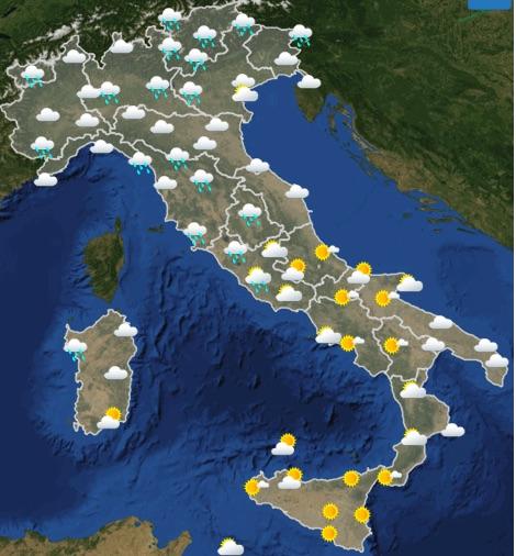 Meteo Italia weekend sabato 18 domenica 19 maggio 2019 domenica ore 00-06 - meteoweek.com