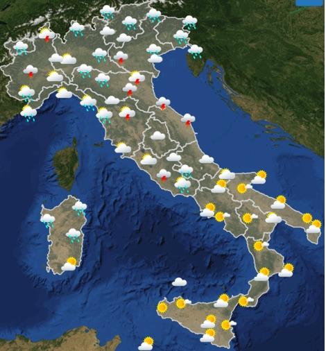Meteo Italia weekend sabato 18 domenica 19 maggio 2019 domenica ore 06-12 - meteoweek.com