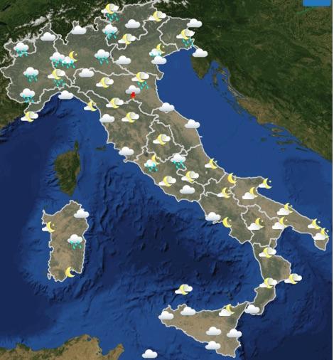 Meteo Italia weekend sabato 18 domenica 19 maggio 2019 domenica ore 12-18 - meteoweek.com
