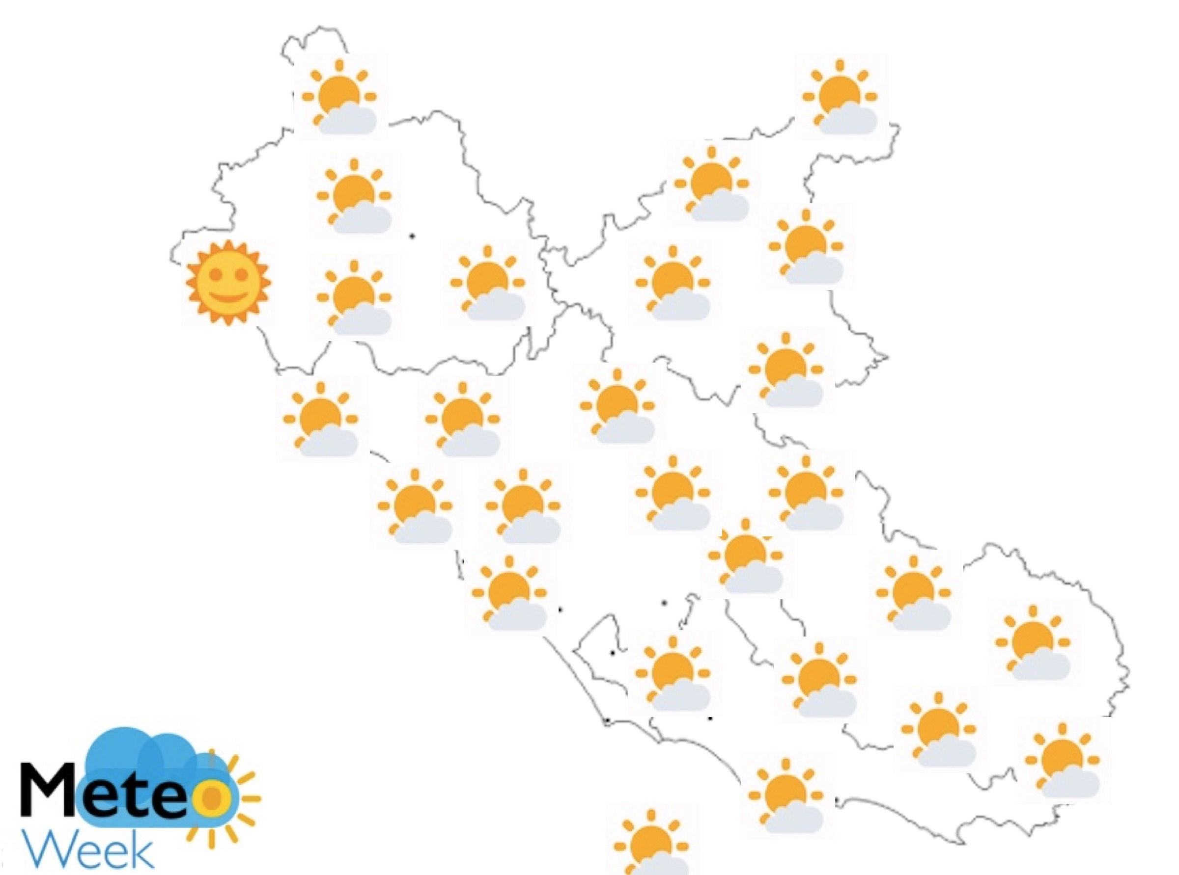 Meteo Regione Lazio mercoledì 22 maggio - meteoweek.com