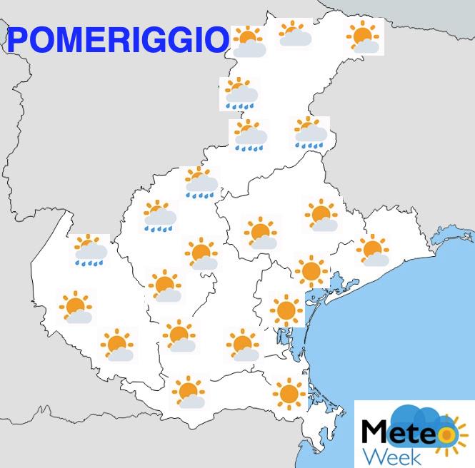 Meteo Veneto mercoledì 22 maggio 2019 pomeriggio - meteoweek.com