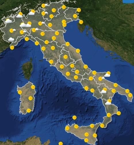 Meteo Italia previsioni del tempo di domani martedì 25 giugno 2019 ore 12 - meteoweek.com