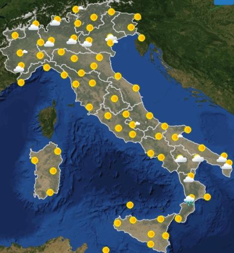 Meteo Italia previsioni del tempo di oggi martedì 25 giugno 2019 ore 12 - meteoweek.com