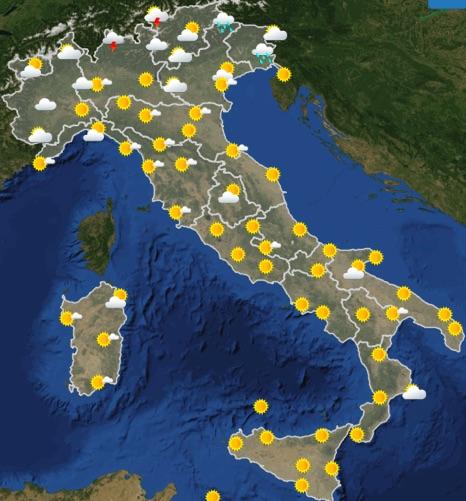 Meteo Italia previsioni del tempo domani giovedì 20 giugno 2019 ore 12 - meteoweek.com