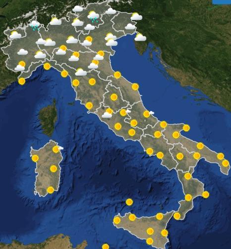 Meteo Italia previsioni del tempo domani giovedì 20 giugno 2019 ore 6 - meteoweek.com