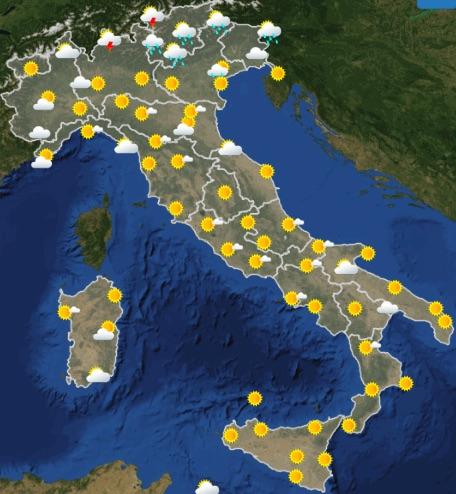 Meteo Italia previsioni del tempo oggi giovedì 20 giugno 2019 ore 12 - meteoweek.com