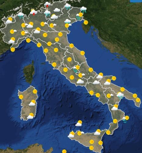 Meteo Italia previsioni del tempo oggi mercoledì 19 giugno 2019 ore 12 - meteoweek.com