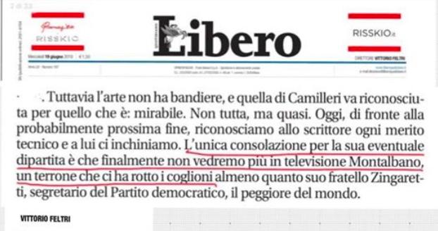Vittorio Feltri su Andrea Camilleri - meteoweek.com