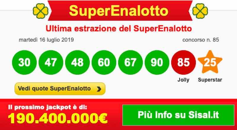 Estrazione Superenalotto e lotto di oggi giovedì 18 luglio 2019 - ore 20-00 diretta live - meteoweek.com