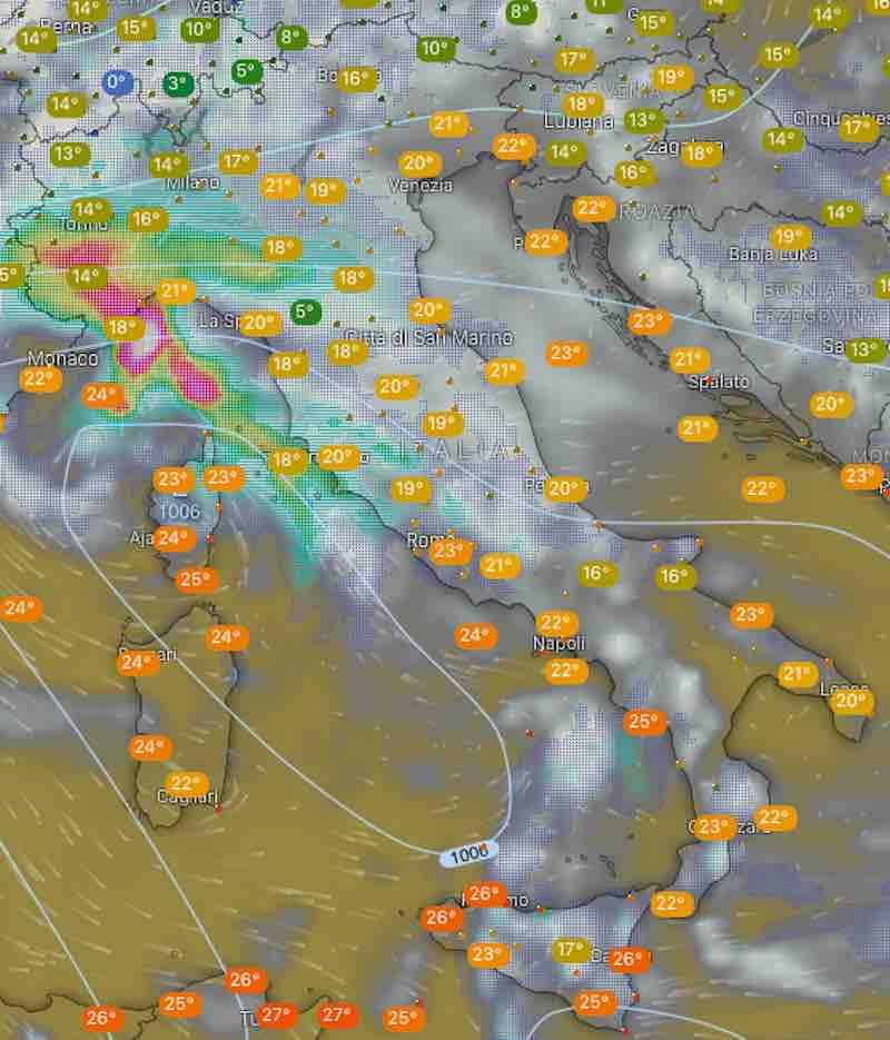 Mappa termperature e nuvolosità - oggi lunedi 15 luglio 2019 ore 12 - meteoweek.com
