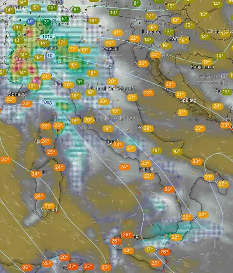Mappa termperature e nuvolosità - oggi lunedi 15 luglio 2019 ore 8- meteoweek.com