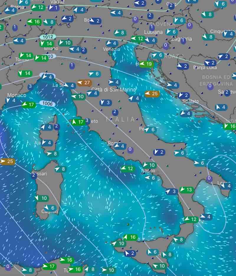 Mappa venti e mari - oggi lunedi 15 luglio 2019 - meteoweek.com
