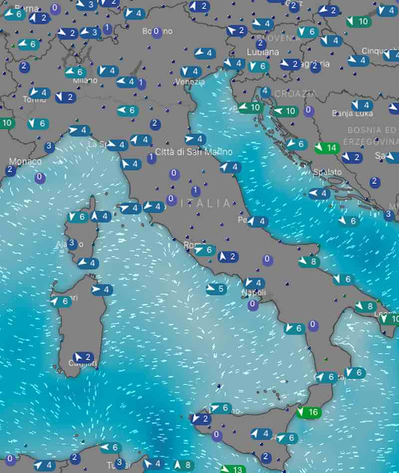 Meteo Italia venti e mari oggi venerdì 5 luglio 2019 - meteoweek.com