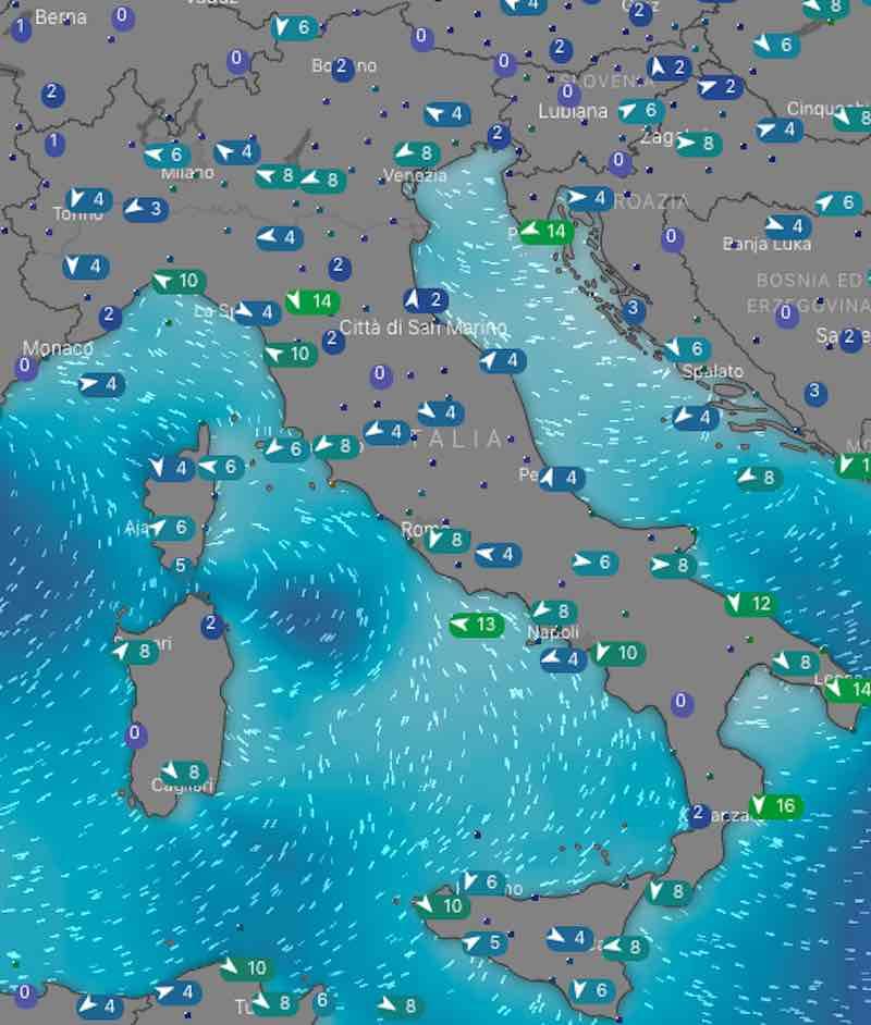 Meteo domani mari e venti venerdì 12 luglio in Italia - meteoweek.com