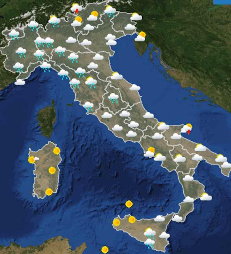 Meteo domani previsioni del tempo di lunedì 15 luglio 2019 in Italia ore 12 - meteoweek.com