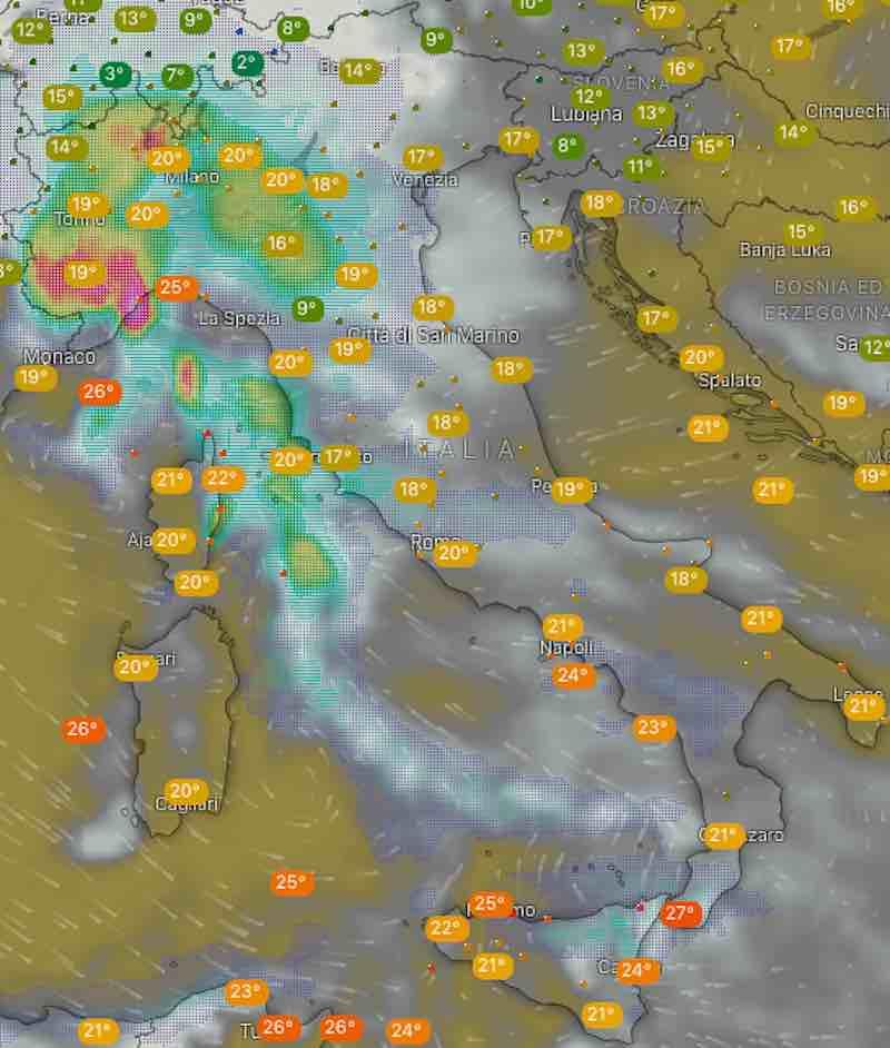 Meteo domani temperature di lunedì 15 luglio 2019 in Italia mattina - meteoweek.com