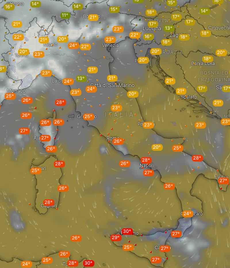 Meteo domani temperature giovedì 11 luglio - meteoweek.com