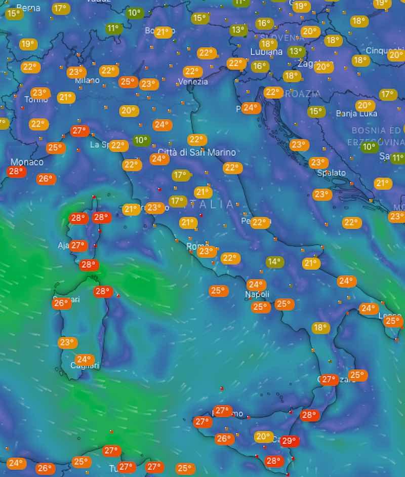 Meteo domani temperature venerdì 12 luglio in Italia - meteoweek.com