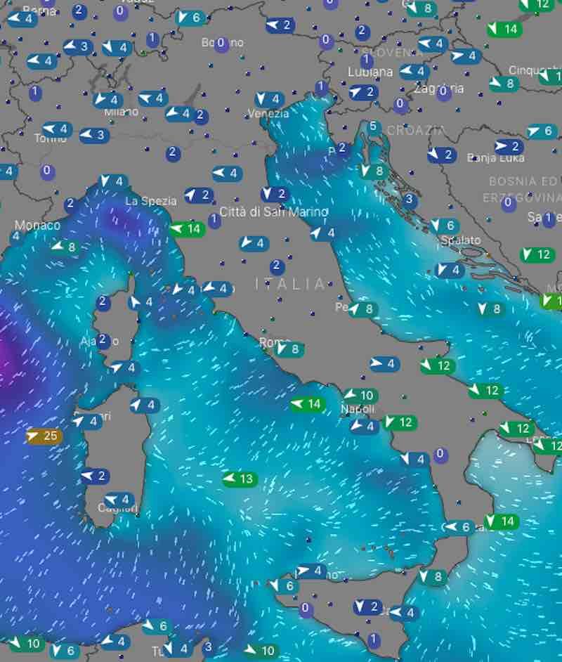 Meteo domani venti e mari di lunedì 15 luglio 2019 in Italia mattina - meteoweek.com
