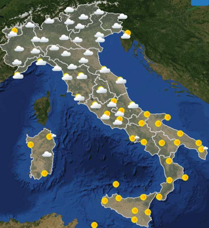 Meteo oggi previsioni del tempo di giovedì 11 luglio in Italia ore 12 - meteoweek.com