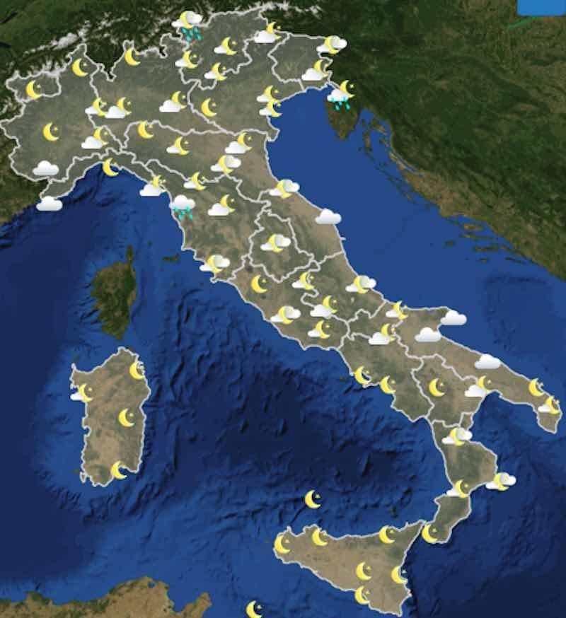 Meteo oggi previsioni del tempo di giovedì 11 luglio in Italia ore 22 - meteoweek.com