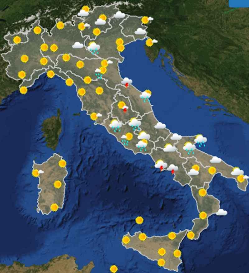 Meteo oggi previsioni del tempo di sabato 13 luglio in Italia ore 12 - meteoweek.com