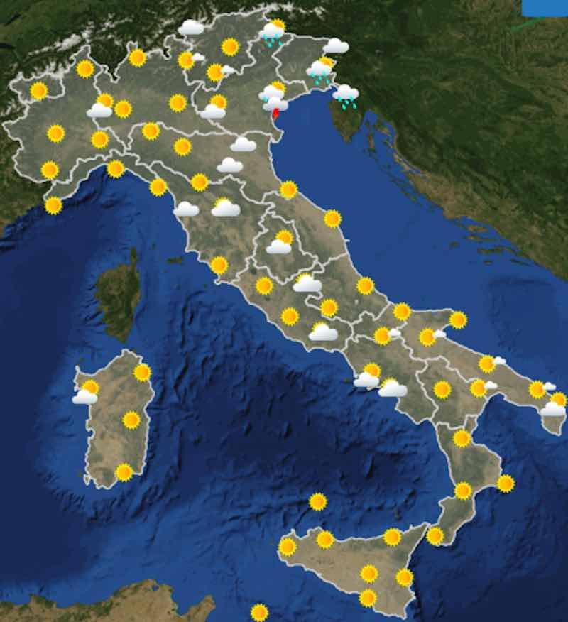 Meteo oggi previsioni del tempo di sabato 13 luglio in Italia ore 6 - meteoweek.com