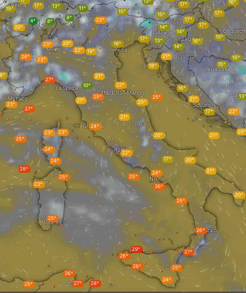 Meteo oggi temperature di domenica 14 luglio 2019 ore 14 - meteoweek.com