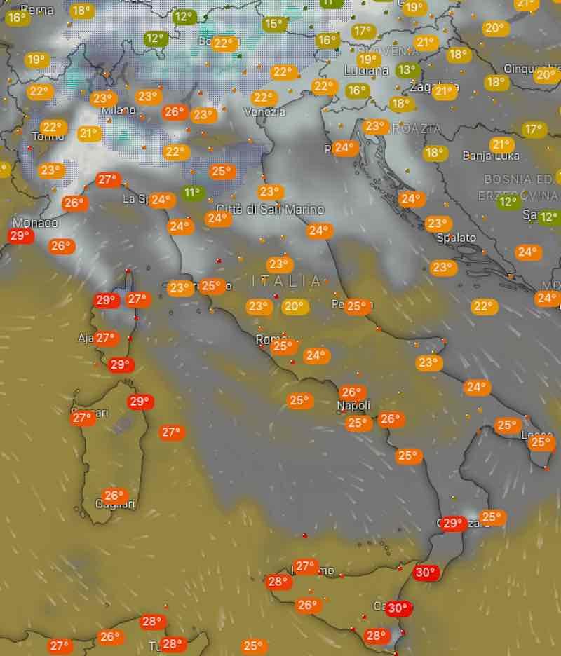 Meteo oggi temperature di giovedì 11 luglio in Italia - meteoweek.com