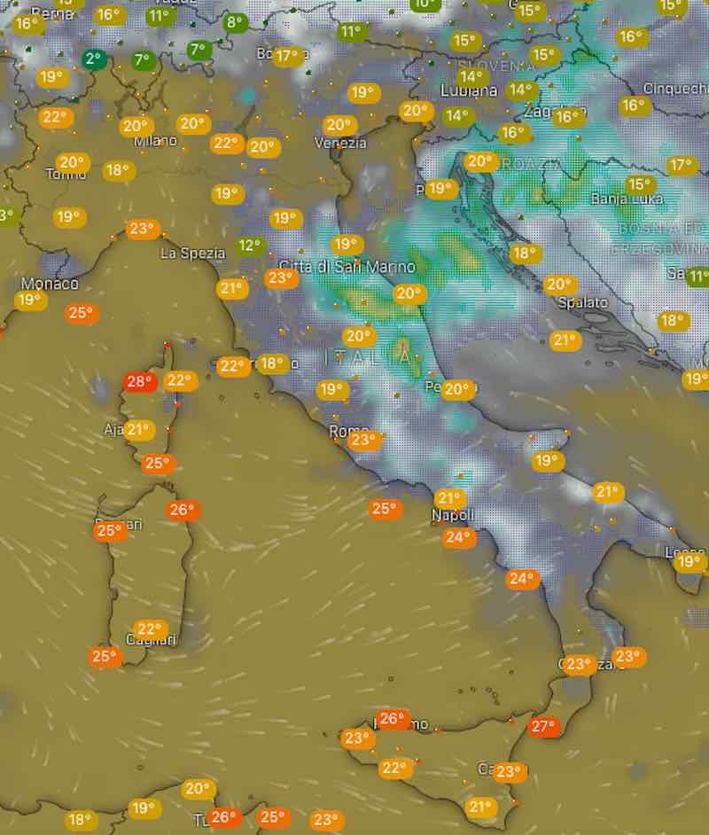 Meteo oggi temperature di sabato 13 luglio in Italia - meteoweek.com