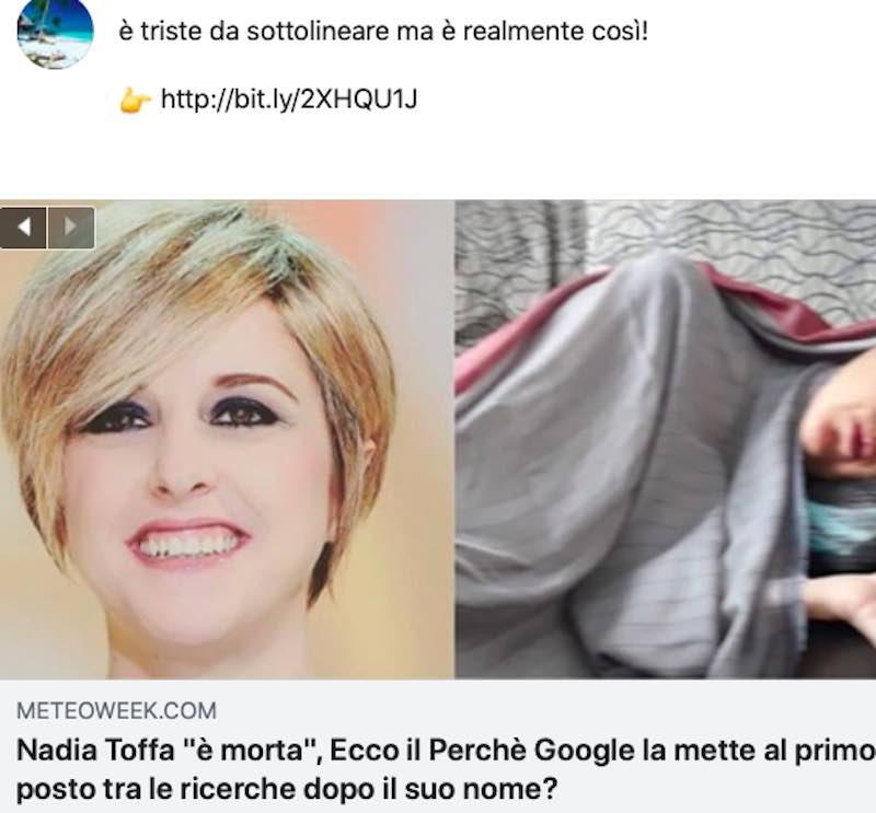 Nadia Toffa sta bene. Il lettore dei social è distratto - meteoweek.com
