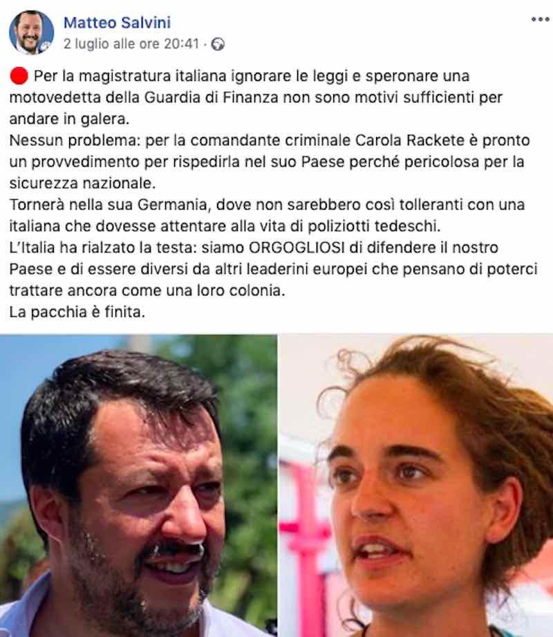 Post di Matteo Salvini 2 luglio fb - meteoweek.com