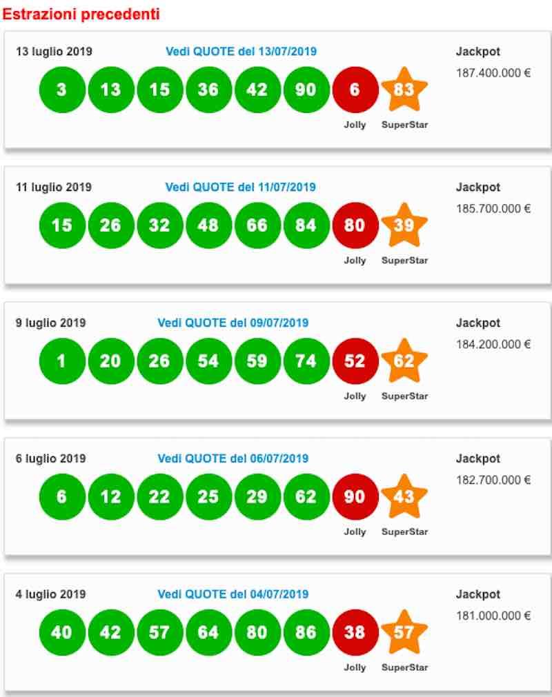 estrazioni precedenti - Estrazione Superenalotto e lotto di oggi giovedì 18 luglio 2019 - ore 20-00 diretta live - meteoweek.com