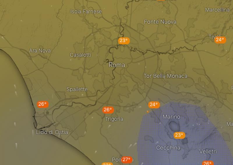 mappa Meteo provincia di Roma domani previsioni del tempo di lunedì 15 luglio 2019 - meteoweek.com