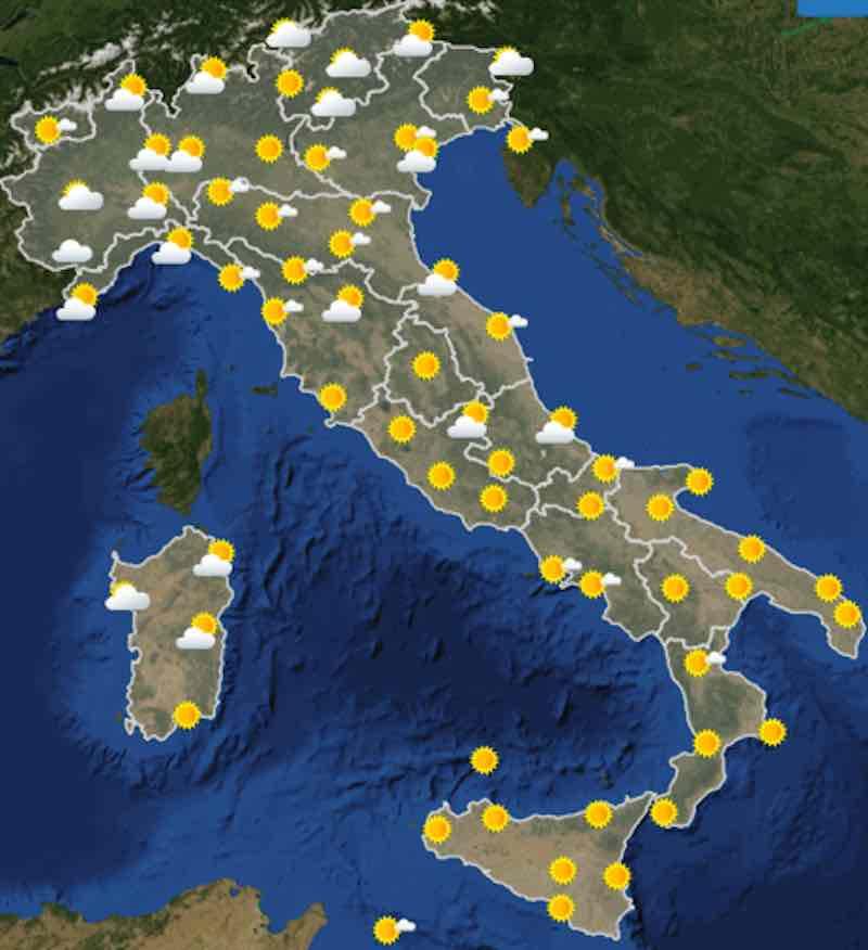mappa delle ore 12 - Meteo domani previsioni del tempo di mercoledì 17 luglio 2019 in Italia - meteoweek.com