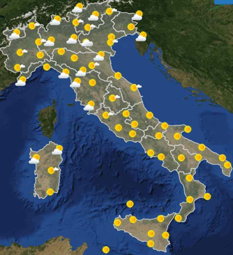 mappa delle ore 6 - Meteo domani previsioni del tempo di mercoledì 17 luglio 2019 in Italia - meteoweek.com