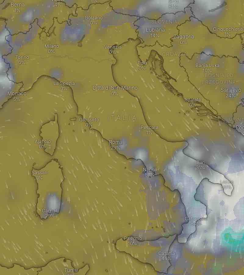 mappa nuvolosità martedì 16 luglio - Previsioni meteo oggi e domani martedì 16 e mercoledì 17 luglio in Italia - meteoweek.com