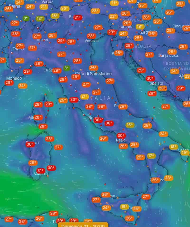 mappa domenica temperature - Previsionidel fine settimana sabato 20 luglio 2019 - meteoweek.com
