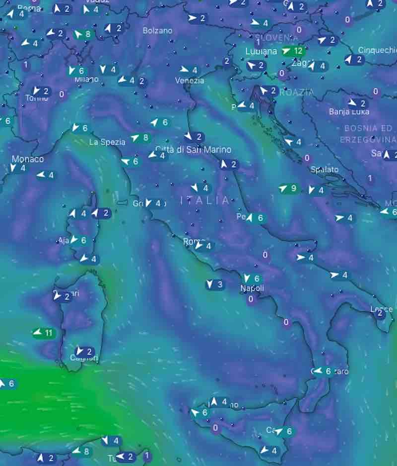 mappa mari e venti - Meteo domani previsioni del tempo di domani domenica 21 luglio in Italia - meteoweek.com